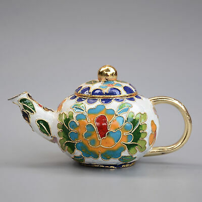 Collect Chinese Old Cloisonne Hand-Carved Bloomy Peony Flower Delicate Tea Pot