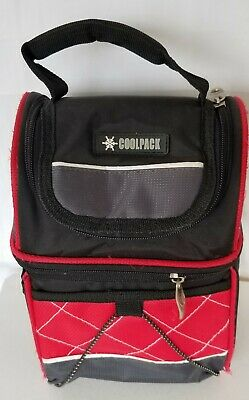 CoolPack Lunch thermal Insulated bag Keep Cold cans food cooler black red