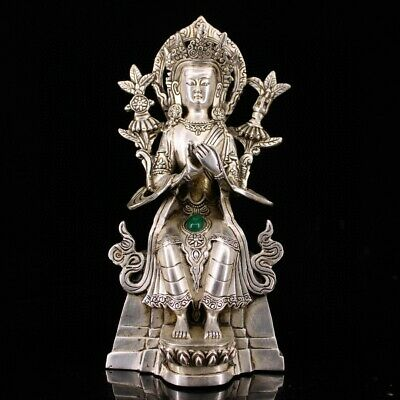 Collectable China Old Miao Silver Inlay Gem Hand-Carved Precious Buddhism Statue