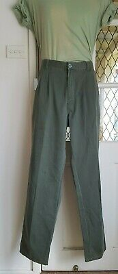 FABERGE VINTAGE 80s 90s Pleat Front Olive Green Trousers Size 92R
