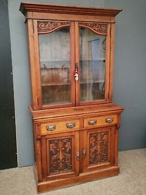 Quality Antique Edwardian Mahogany Art Nouveau Style Carved Cabinet Bookcase