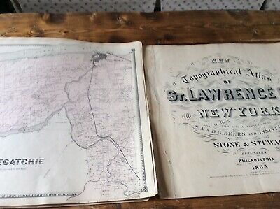 OSWEGATCHIE & OGDENSBURG Authentic Map  Disbound From 1865 Topographical Atlas