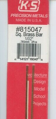 12 in BRASS 2-pieces SQUARE BAR 1/32 x 1/32 in (0.793 x 0.793mm) K&S #815047 NEW