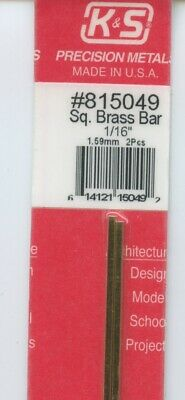 12 in BRASS 2-pieces SQUARE BAR 1/16x1/16in (1.59x1.59mm) K&S Metals #815049 NEW