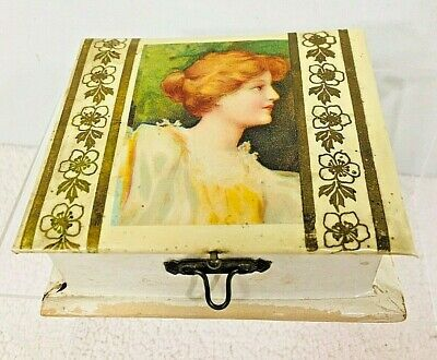 Amazing Antique Sewing Box Kit Beautiful Woman Celluloid