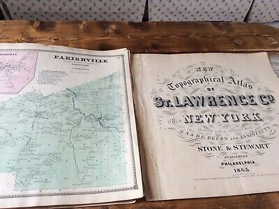 PARISHVILLE NYAuthentic Map  Disbound From 1865 Topographical Atlas  S & D Beers
