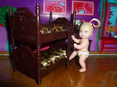 "Barbie Baby Sister Diorama Dollhouse Bedroom Furniture -  4"" Tall Bunk Bed"