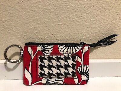 Vera Bradley deco daisy red white floral black zip ID keychain card holder coin