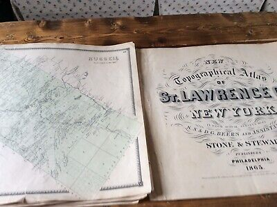 RUSSELL  NY Authentic Map  Disbound From 1865 Topographical Atlas  S & D Beers