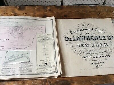 WADDINGTON NY Authentic Map  Disbound From 1865 Topographical Atlas  S & D Beers