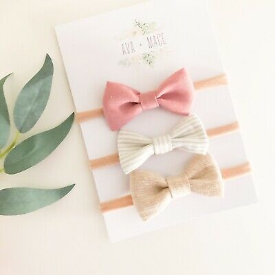3 X Bow Headband Ivory Pink Grey White Baby Girl Newborn Toddler Handmade Nylon