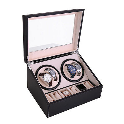 Leather Watch Winder Storage Display Case Box 4+6 Automatic Rotate Wooden Black