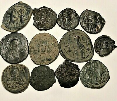 Nice Lot Of 12 Byzantine Coins (72 Grams)