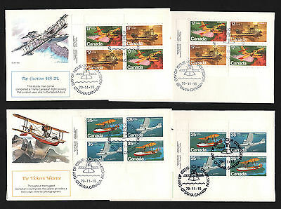 OPC 1979 Canada Airplanes Plate Block FDC Set Sc#843-6 Fleetwood Unaddressed
