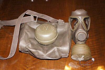 German Military M-65 40mm Gas Mask Respirator, NOS Filter,  Bag, Size 1 (SMALL)