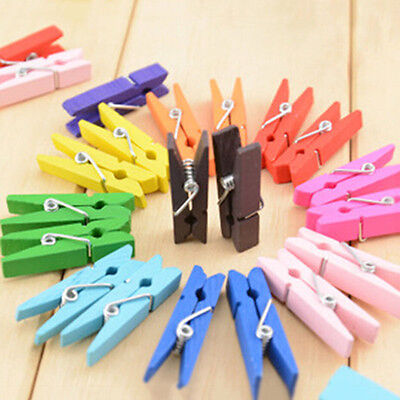 50 White Wooden Mini Clothespin Craft Pegs Paper Clips for Scrapbooking 25mm