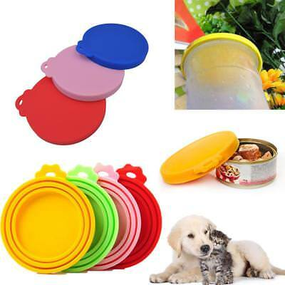 3 Can Covers REUSABLE STANDARD SIZE TIN PLASTIC LID CAT DOG PET NEW Chef Aid