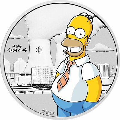 2020 COLOURED 50c Homer Simpson .999  Silver Coin CARDED