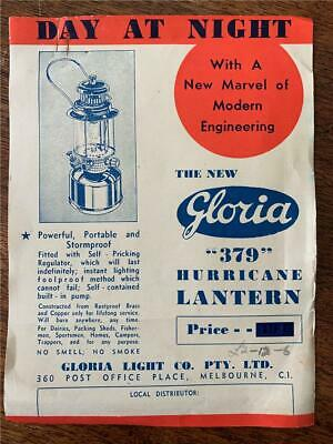 C 1950 Gloria Hurricane Lantern 379 sales flyer Melbourne Light Company