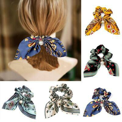 Details about  /Ties Scarf Rope Hair Band Acc Best Girl Solid Elastic Floral Bow Scrunchie