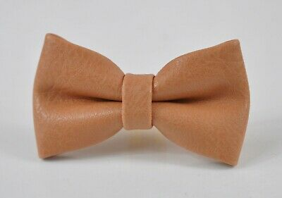 Caramel Brown PVC Faux Leather Craft Bow tie Bowtie for Men Youth Boy Baby