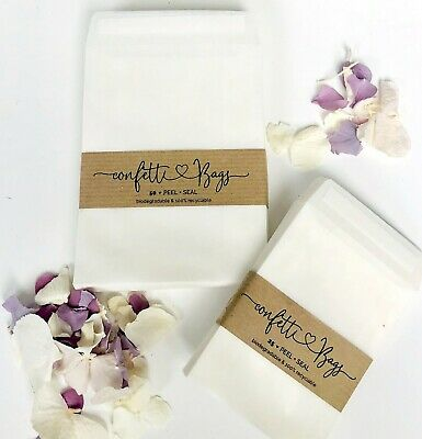 500 PEEL /& SEAL 89x117mm GLASSINE BAGS-PH NEUTRAL-CONFETTI// FAVOURS//  WAX MELTS
