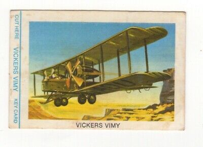 Tip Top Bread - Great Sunblest Air Race Cards #01. Vickers Vimy