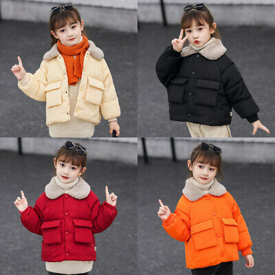 Girls Kids Short Jackets Cotton Down Coat Fur Collar Padded Coats Jacket Outwear