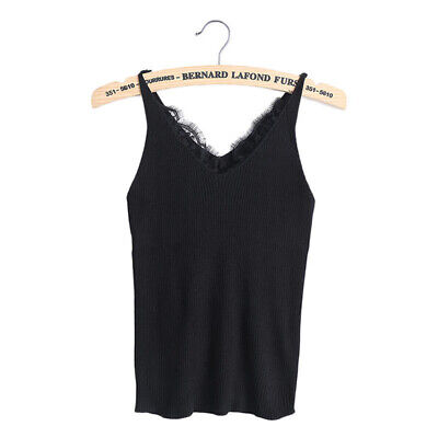 Women's Fashion Women Tank Top V Neck Vest Knitted Summer Casual Lace Knitted FI