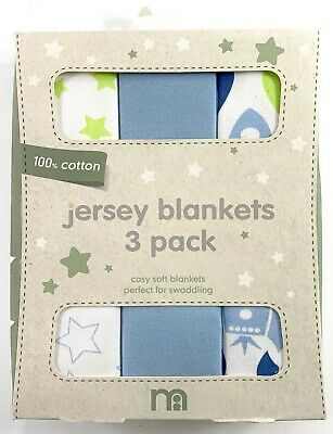 Mothercare Space Dreamer 90 x 100cm 100% Cotton Jersey Blankets 3 Pack