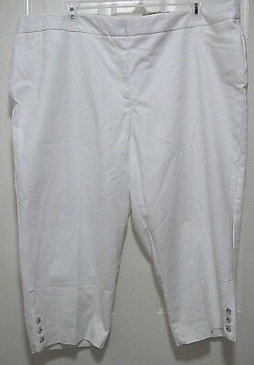 Womens Roz & Ali Size 24 White Capri Cropped Pants Shorts Tummy Control