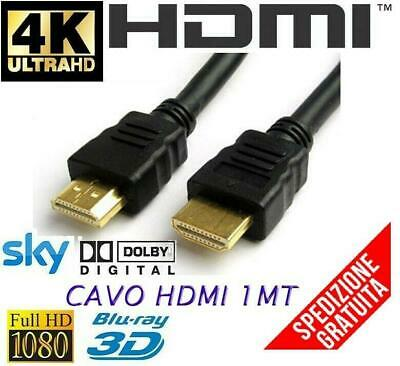 CAVO HDMI 4K 2K Ultra HD 1 METRO 1MT ETHERNER 3D FULL HD HIGH SPEED TV MONITOR
