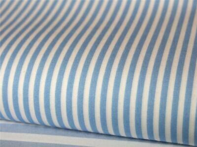 Pale Blue white 3mm candy Stripe 100% COTTON for dress craft patchwork bunting