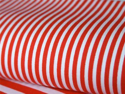 RED white 3mm candy Stripe 100% COTTON fabric for dress craft patchwork bunting