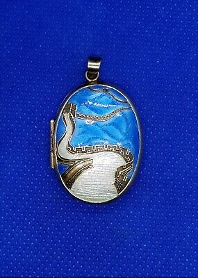 Antique Chinese Export Sterling Silver Cloisonne Enamel Locket Great Wall China