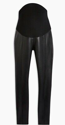 Topshop Maternity Over The Bump, PU Faux Leather Black Leggings. Size 8