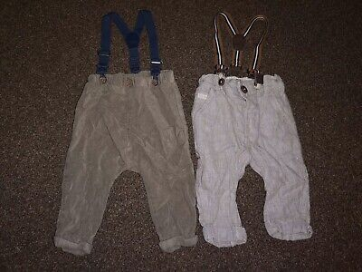 2 Pairs Of Baby Boys Trousers With Braces - Both From Next - 3-6 Months Bundle