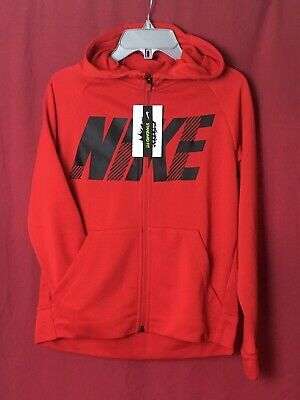 Nike Hoodie Boys Age 10-12 Red Hoody Zip Up Top Youths Unisex Jacket