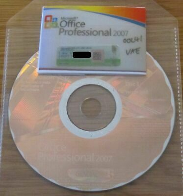 Genuine Microsoft Office 2007 Professional Medialess License Kit - Product Key