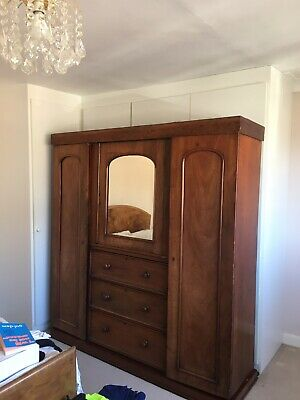 Antique Victorian combination mirror door wardrobe / drawers