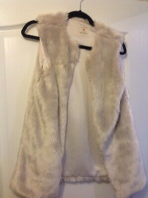 Girls Sleeveless Furry / Fluffy Gillet In Pale Pink /mink Colour Age 12-13 Yrs