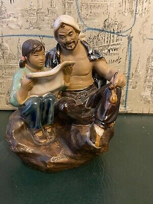 Vintage Chinese Japanese Shiwan Mud Man Glazed Art Pottery Man With Girl Reading