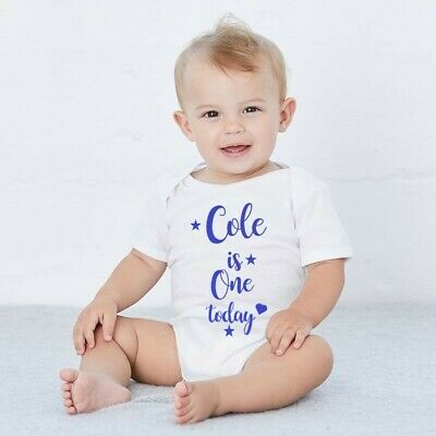 Personalised FIRST Birthday White Baby Boy/Girl IS ONE Outfit One Cake Smash