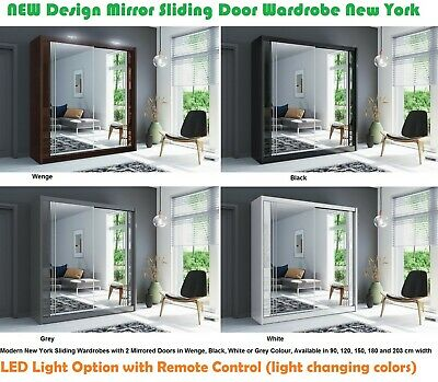 Modern Mirror Sliding Door Wardrobe New York 5 Sizes & 4 Colours - LED Optional