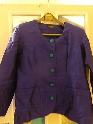 Stunning Royal Blue And Jade Pure Silk  Skirt Suit - 2 Skirts 12