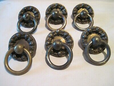 Set Of 6 Antique Empire Brass Ring Drawer Pulls