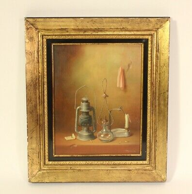 Antique Luigi Tagliani Swiss c. 1800 Oil On Board Original Art Lanterns Painting