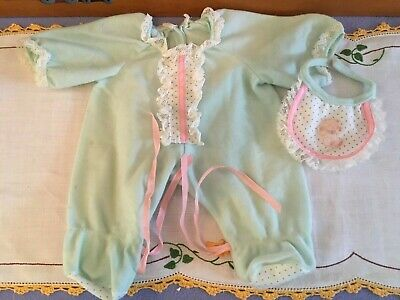 Doll BEAR BIB & Blue Sleeper SUIT ONSIE for My Child Doll 1980s Vintage Toys