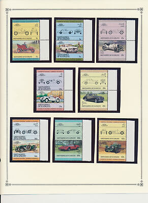 Grenadines of St. Vincent Stamp Set Scott #441-54, Pairs, Classic Autos, MNH
