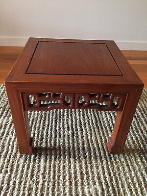 ANTIQUE HANDCARVED SOLID TEAK CHINESE SQUARE SIDE TABLE/STOOL 40.5cm Height 36cm